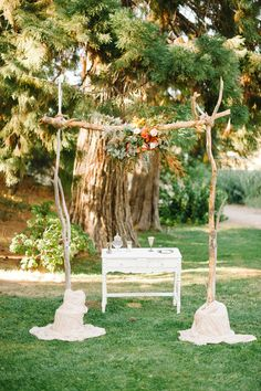 ceremony altar, photo by @Daniel Morgan Cruz styling by @Collette Vickers Budd http://ruffledblog.com/romantic-lake-gregory-wedding #ceremony #altar #weddingideas