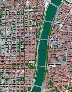 The city of Lyon is the third largest city in France and is situated at the convergence of the Rhône and Saône Rivers. A section of the city, split by the Rhône, is seen in this Overview. Lyon is often recognized as the birthplace of cinema -...