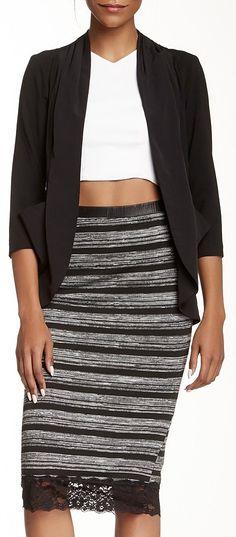 Bobeau Lace Trim Midi Skirt