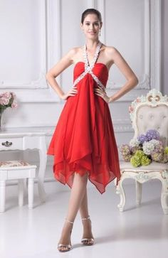 Chiffon Halter Romantic Graduation Gowns - Order Link: http://www.theweddingdresses.com/chiffon-halter-romantic-graduation-gowns-twdn7140.html - Embellishments: Paillette , Sequin , Appliques; Length: Knee Length; Fabric: Chiffon; Waist: Empire - Price: 95.99USD