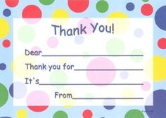 Free Printable Kid S Thank You Card Templates Birthdays Gifts