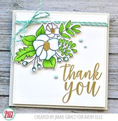 Jamie Gracz for Avery Elle  Supplies: Mimosas and Sip Sip Hooray stamp set, Copic markers,Double Pierced Square die cut, Aquamarine Twine