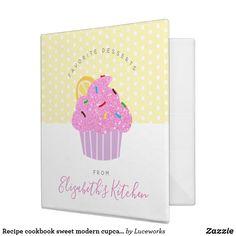Recipe cookbook sweet modern cupcake, dots, yellow 3 ring binder