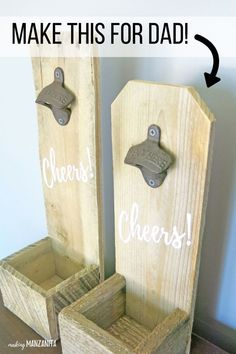DIY Wood Bottle Opener - Great Father's Day Gift Idea Let's a get a round of applause from man caves everywhere! A rustic looking salvaged wood DIY bottle opener that will fit right in with the manly decor. Diy Bottle Opener, Wall Mounted Bottle Opener, Beer Bottle Opener, Diy Father's Day Gifts, Father's Day Diy, Craft Gifts, Wood Pallets, Pallet Wood, Wood Wood
