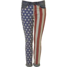 Moto Stars And Stripes Skinny Jeans ($100) ❤ liked on Polyvore