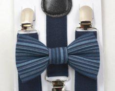 SET Navy Blue Suspenders  & Blue Stripes  clip on / pre-tied bowtie bow tie 8 months- ADULT Children Toddler Baby Boys Boy