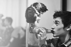 Dave Franco with a cat! LOVE IT!