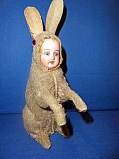 Antique rabbit bisque doll candy container