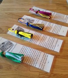 Upcycled bookmarks from damaged Harry Potter paperbacks... Choose your house color tassel!