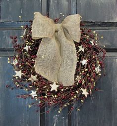 Americana Wood Star Pip Berry Wreath Patriotic by Designawreath, $64.95