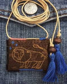 Textile Jewelry, Fabric Jewelry, Textile Art, Chicken Scratch Embroidery, Mini Album Tutorial, Annie Sloan Paints, Sashiko Embroidery, Textiles, Leather Design