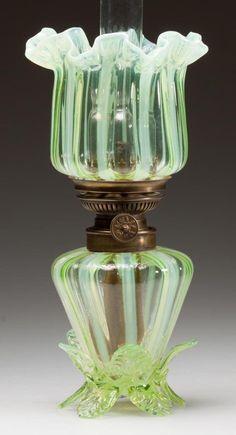 STRIPED MINIATURE LAMP, vaseline (uranium) opalescent, upturned ruffled shade, base with
