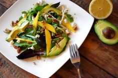 Mango, Avocado & Walnut Salad ...leave off the goat cheese and sub agave for honey to make this a vegan delight