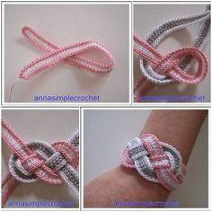 DIY Crochet Bracelet Tutorial. Instead of bracelet could be used for a headband.