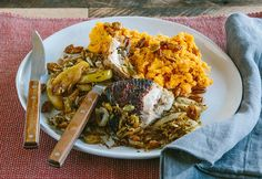 chicken with apple and mashed sweet potato