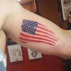 Tattoo American Flag by tall_garrett_tattoos Body Art Tattoos, Small Tattoos, Sleeve Tattoos, Cool Tattoos, Tatoos, Tattoos Pics, Forearm Tattoos, Tattoo Images, Army Tattoos