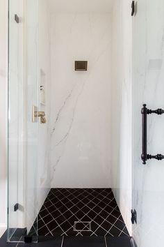 Porcelain slabs - Master Bath Reveal: Heights House Boho Bathroom, Modern Bathroom, Master Bathroom, Bathroom Ideas, Master Baths, Small Bathrooms, Washroom, Large Format Tile, Chrome Handles