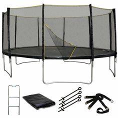 Pack Premium Trampoline 490cm Noir avec filet, échelle, bâche et kit d'ancrage #trampoline #sport #jardin #trampolineenfant #jeux #extérieur #loisirs #enfants