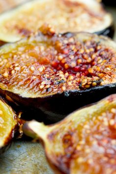 Grilled Figs with Creme Fraiche and Chestnut Honey