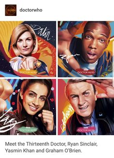 Meet the Thirteenth Doctor, Ryan Sinclair, Yasmin Khan and Graham O'Brien! 13th Doctor, Eleventh Doctor, Doctor 13, Who 13, Dr Who, Doctor Who Art, Just Run, Cool Names, Old Movies
