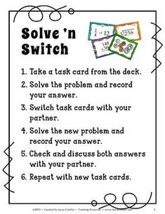 Solve 'n Switch cooperative learning strategy from Laura Candler ~ Brilliant twist on using task cards!