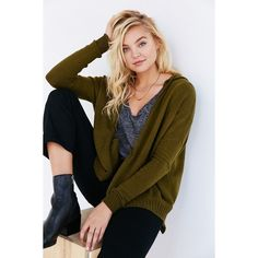 Silence + Noise Take Your Time Cardigan ($40) ❤ liked on Polyvore featuring tops, cardigans, green, green top, brown cardigan, brown tops, slouchy tops and slouchy cardigan