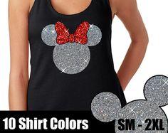GLITTER Minnie Mouse Tank  // Disneyland Shirt // Disney Cinderella Castle Disney Clothing (69-NL-33) Silver and Red Glitter / Black Tank