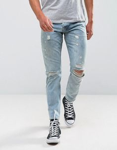 Get this Asos's slim jeans now! Click for more details. Worldwide shipping. ASOS Slim Jeans In Vintage Light Wash With Rips - Blue: Slim jeans by ASOS, Non-stretch denim, Reinforced seams for added strength, Quality cotton twill pocket bags, Hanger loop to centre back, Five pocket styling, Concealed fly, Ripped detail, Slim fit � cut closely to the body, Machine wash, 100% Cotton, Our model wears a W 32 Regular and is 6'2�/188 cm tall. ASOS menswear shuts down the new season with the late...