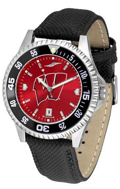 Mens Wisconsin Badgers - Competitor AnoChrome Watch - Color Bezel