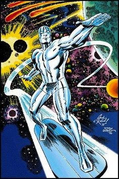Favorite Marvel character: Silver Surfer (Art by Jack Kirby) Tormented being, with the power cosmic. He lost his love and now he cruises the cosmos for answers. Comic Book Artists, Comic Book Characters, Comic Book Heroes, Comic Artist, Comic Books Art, Comic Character, Cosmic Comics, Marvel Comics Art, Marvel Heroes
