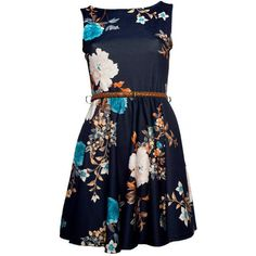 Black Oriental Floral Print Skater Dress - Clothing -... ($29) ❤ liked on Polyvore featuring dresses, vestidos, short dresses, floral, floral printed dress, black day dress, floral mini dress and short floral dresses