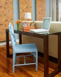In love with this divide system as well-desk behind couch! (St. Anthony's website!) Sofa table as desk idea..