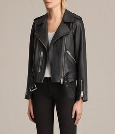 All Saints Black Leather Jacket $560. wearethebikers.com, Skull, Biker, Motorcycle, Men, Women, Goth, Fashion, Leather, Cool, Holiday.