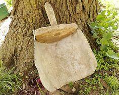 Antique Vintage Galvanized Tin Wood Grain Feed Scoop Farm Barn Primitive Tool!