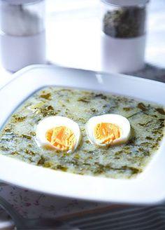 Zupa szczawiowa Read More by justynawitczak Greek Recipes, Soup Recipes, Cooking Recipes, Sorrel Soup, Polish Soup, Polish Recipes, Russian Recipes, Frugal Meals, International Recipes