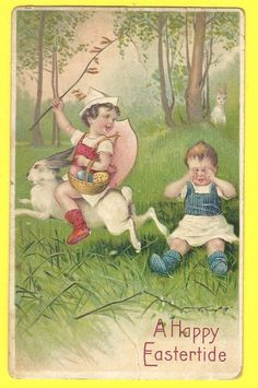 Original Old Easter Postcard with Child  Riding Rabbit and Child Crying #Easter