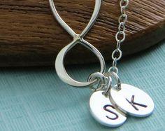 Infinity & Initials Necklace, Silver Infinity, Eternity Charm, Custom Jewelry, Personalized, Best Friend gift, Eternity Jewelry, New Mom