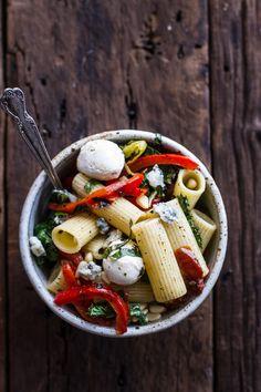Simple Grilled Kale + Red Pepper Tuscan Pasta Salad | halfbakedharvest.com
