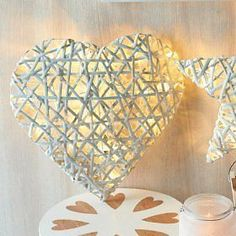 Stunning White Rattan Heart with LEDs, Indoor Light
