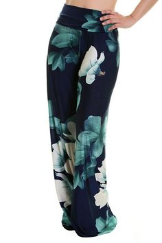 Unique Printed Palazzo Pants Banded High Waist or Fold Over Fabric: Polyester, Spandex Hemline made to cut to adjust pant length Waist Inseam Small 34 Medium 34 Large 34 Next Fashion, Plus Size Fashion, Skirt Fashion, Fashion Outfits, Fashion Ideas, Classy Women, Classy Lady, Printed Palazzo Pants, Flare Pants