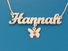 Name Necklace with Butterfly Charm and Crystal