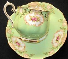 4:00 Tea...Royal Albert...Regal Green teacup and saucer with Pink Rosebuds