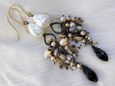 Pearls Black Diamonds and Black Spinel Earrings  Mix by Maykela, $197.00