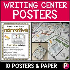 Writing Center Posters and Writing Paper Templates by Miss P's Style | Teachers Pay Teachers