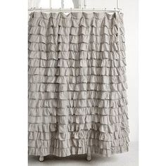 Waterfall Ruffle Shower Curtain - Grey - One Size