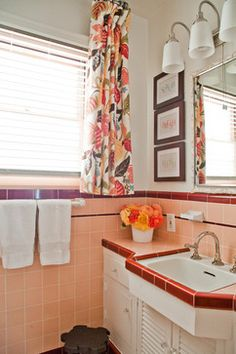 Livable Family Home - traditional - Bathroom - Los Angeles - A. Peltier Interiors   Looks like your downstairs bath....from an article re 8 ways to spruce up an older bathroom without remodeling ---looks like you did the right thing with the print of the shower curtain and the neutral wall color!