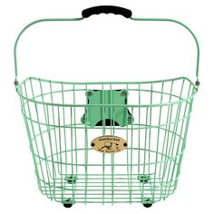 Wire bicycle basket in mint green with brackets that attach to handlebars.   Product: Bicycle basketConstruction Mate...
