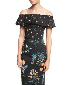 Off-The-Shoulder+Floral-Print+Top,+Black/Combo+by+Rebecca+Taylor+at+Bergdorf+Goodman.