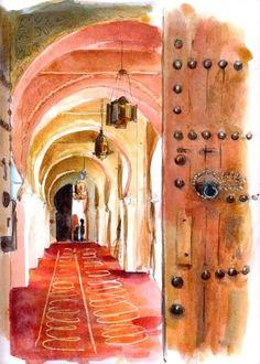 Mosquée Sidi Abu Median, intérieur rouge - Peinture,  30x40 cm ©2008 par Catherine Rossi - Mediterranean Art, Paris Illustration, Islamic Art Calligraphy, Portrait Art, Oeuvre D'art, Watercolor Paintings, Watercolors, Art Decor, Street Art
