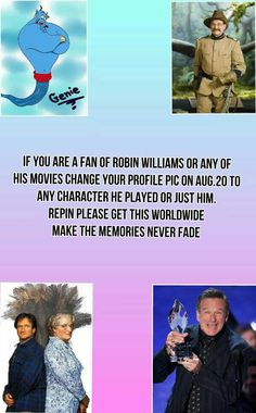"I was watching Aladdin the other night and the story got harder to watch when the Genie showed up. But the part that made me start to cry was when Genie was set free. I watched it on Disney Channel and at the end, there was a message that said: ""In memory of Robin Williams. Who always made us laugh."" Genie, you're free..."